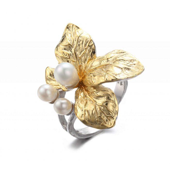 Hvid blomst justerbar ring - A.Brask
