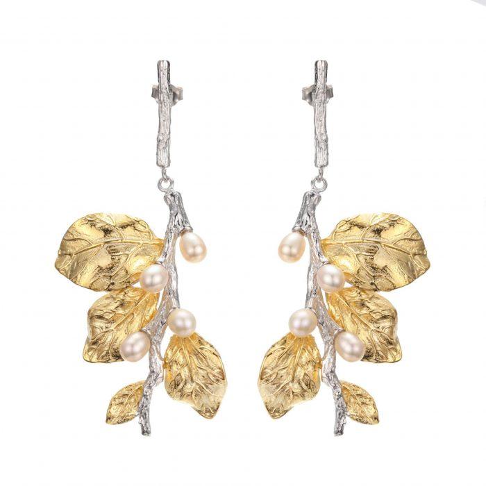A.Brask - Hvid blomst hængeøreringe - Ørering