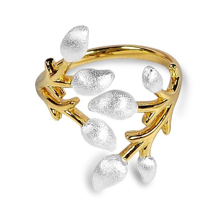 Blomstrende gren justerbar ring-A.Brask smykker