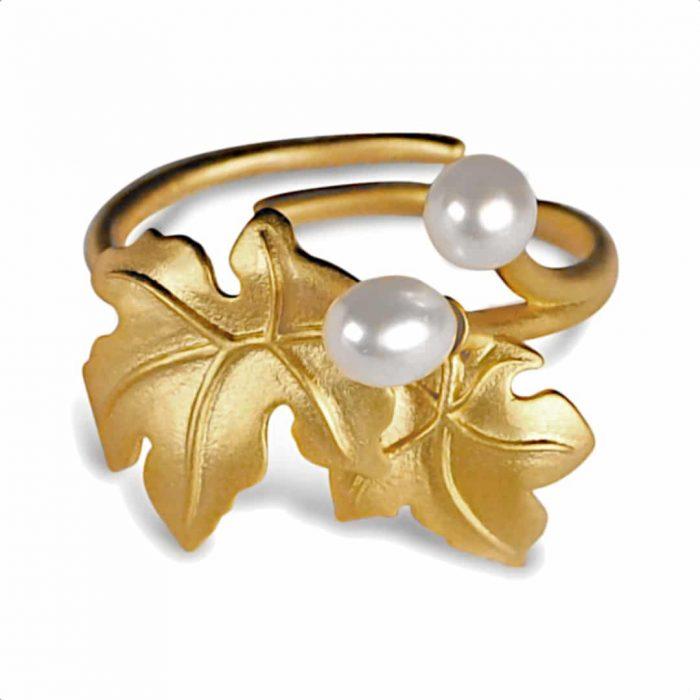 A.Brask - Blomstrende ahorn justerbar ring - forgyldt ring