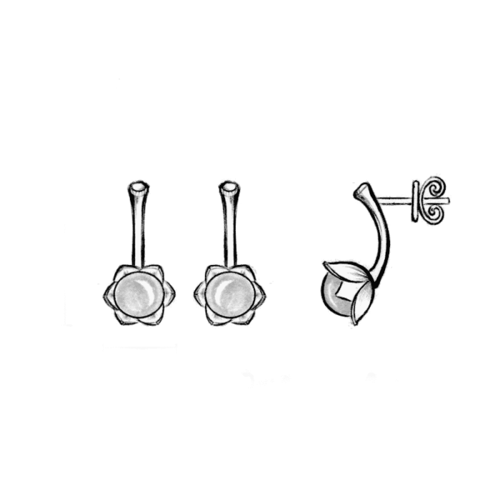 Bonderose øreringe - A.Brask