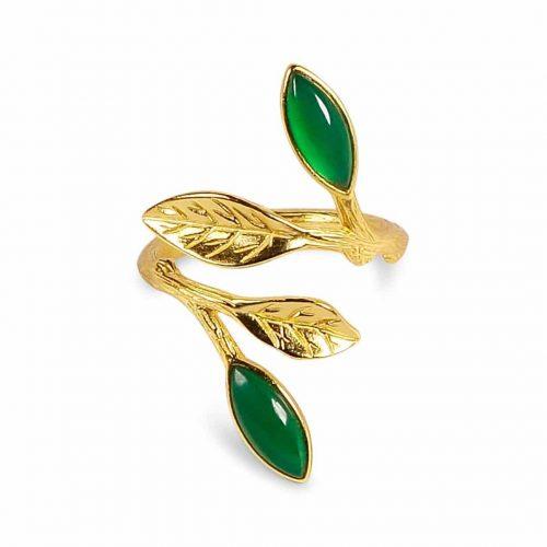A.Brask - Blomstrende forår justerbar ring - guld - Ørestikker