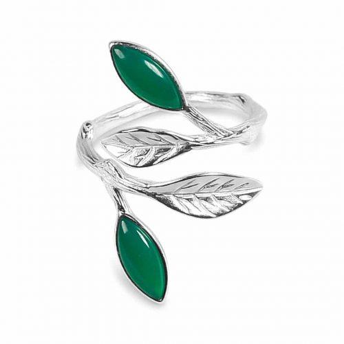 A.Brask - Blomstrende forår justerbar ring - sølv - grøn - smaragd